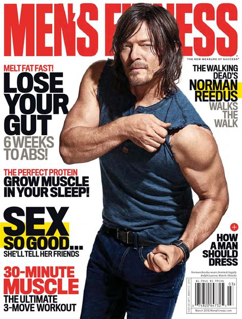 Norman Reedus Flexes for Men's Fitness March 2016 Cover