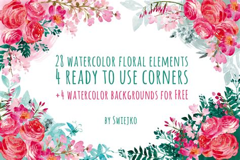 Watercolor flowers, floral corners ~ Illustrations on